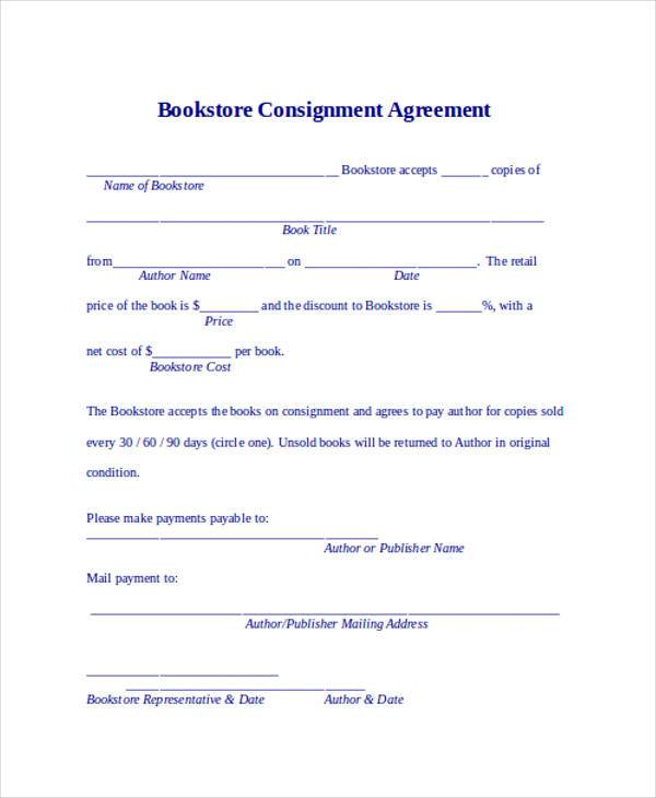Bookstore Consignment Agreement Form  Consignment Contracts Template