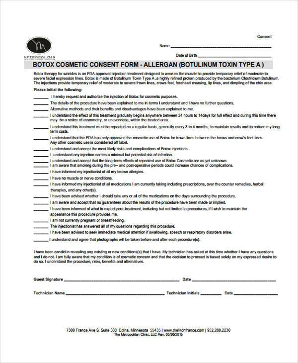 botox cosmetic consent form