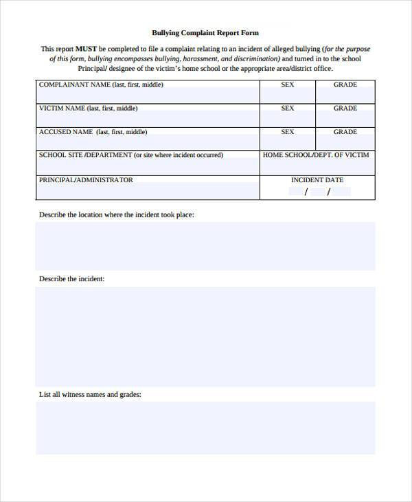 bullying complaint reporting form