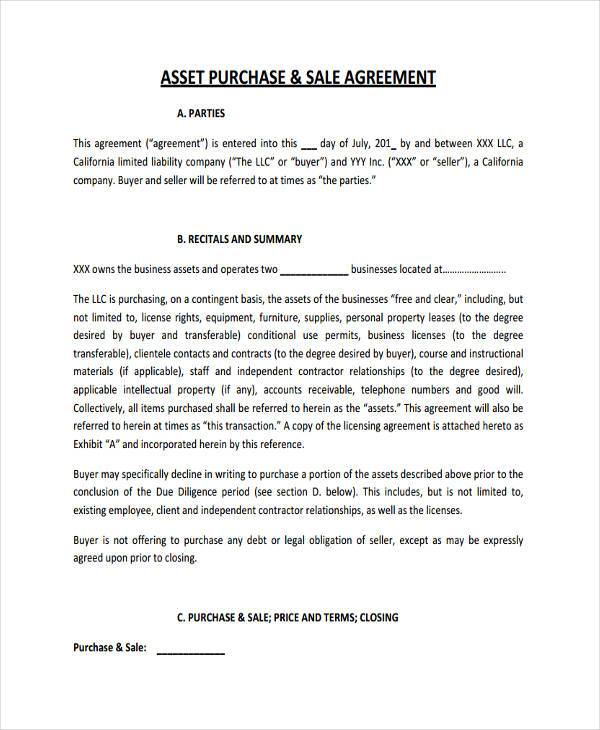 Asset Purchase Agreements Free Printable Asset Purchase Agreement