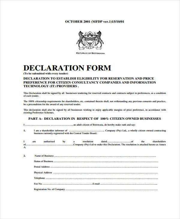 Sample Declaration Statement Form