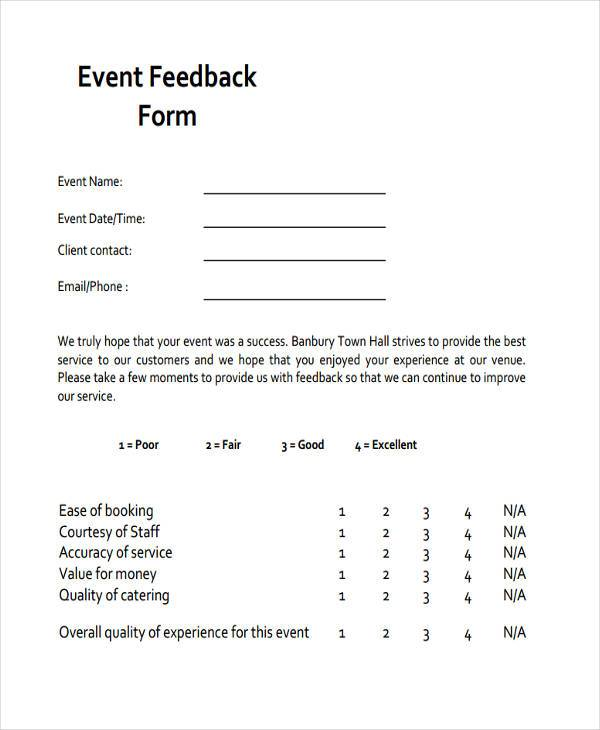 Business Event Feedback Form