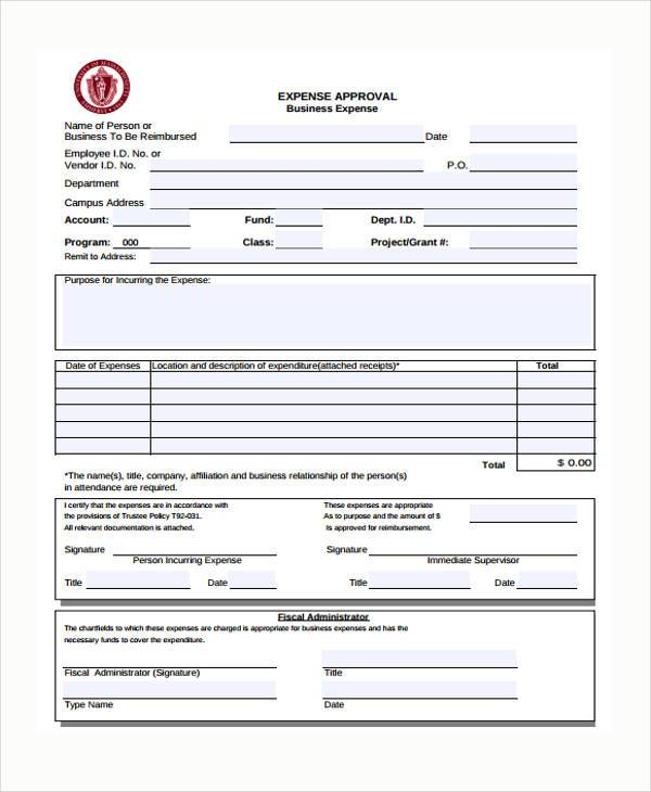Sample expense approval forms 10 free documents in word pdf business expense approval form fbccfo Image collections