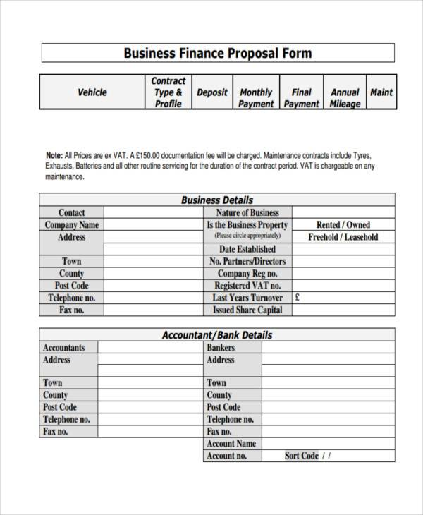 business finance proposal form