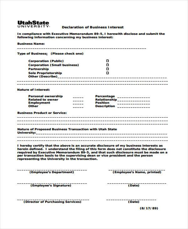 conflict of interest declaration template - sample business declaration forms 7 free documents in