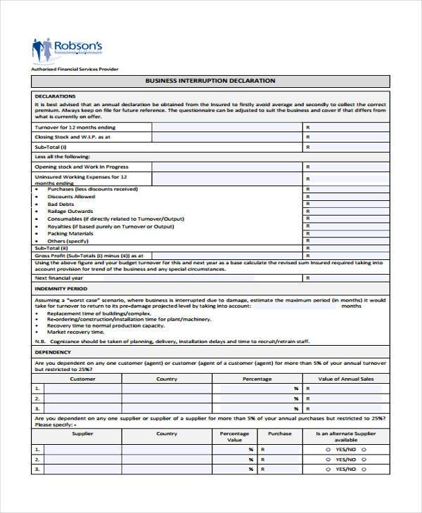 Sample Business Declaration Forms   Free Documents In Word Pdf