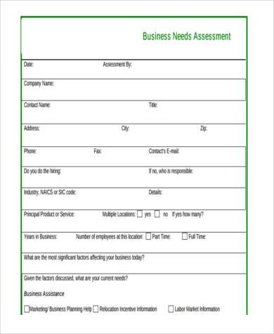 Sample business assessment forms 9 free documents in word pdf business needs assessment form wajeb Gallery