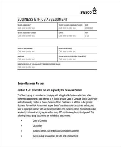 business partner assessment form