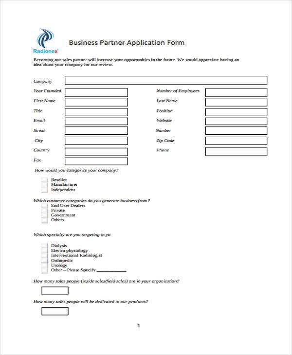 business partnership application form