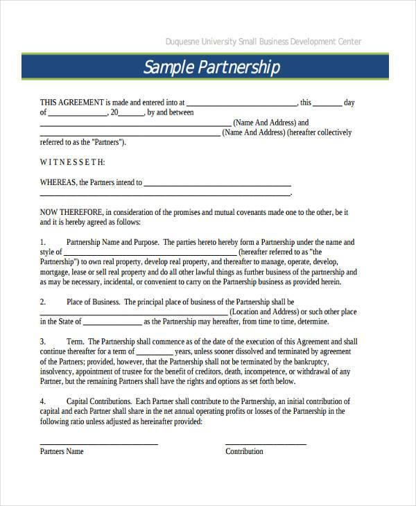 Sample Business Contract Forms 9 Free Documents in Word PDF – Business Partner Contract
