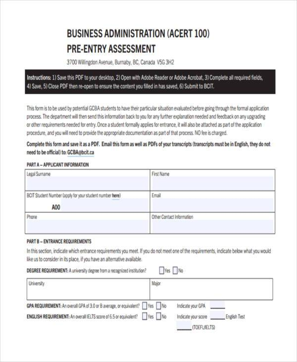 business pre assessment form