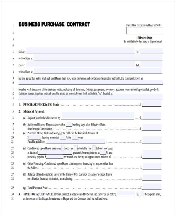 Sample Business Contract Forms 9 Free Documents in Word PDF – Sample Purchase Agreement for Business