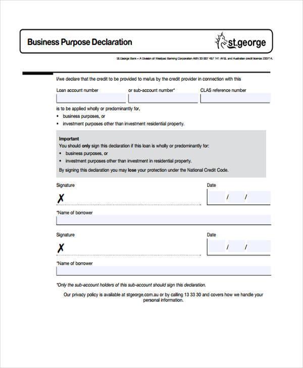 business purpose declaration form