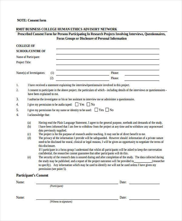 business research consent form