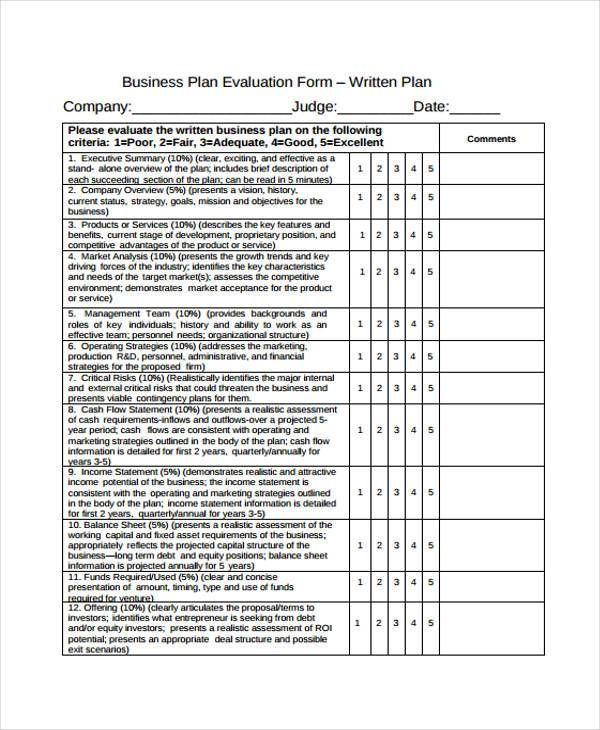 Evaluation Proposal Sample. Business Plan Template Product