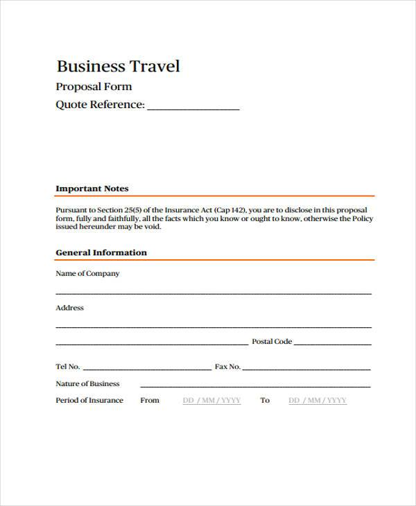 business travel proposal form