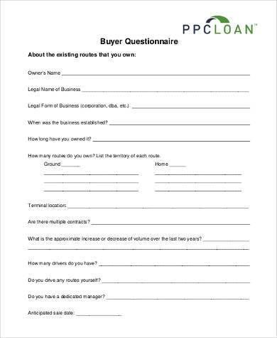 buyer questionnaire form example