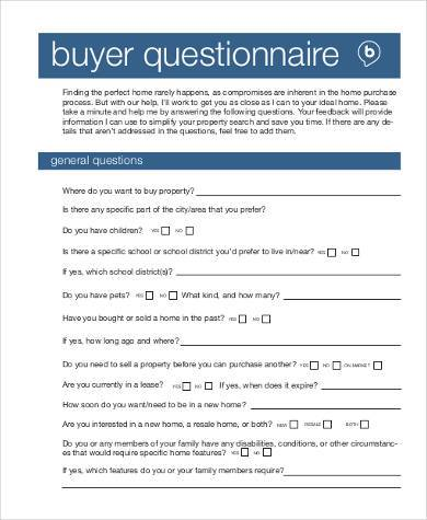 buyer questionnaire form in pdf