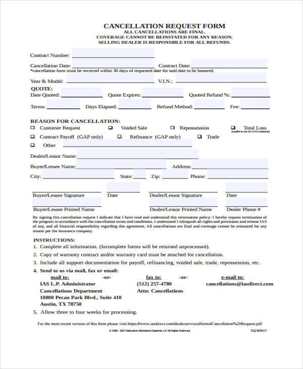 cancellation request form example