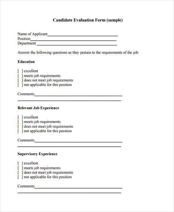 8+ Candidate Evaluation Form Samples - Free Sample, Example Format ...