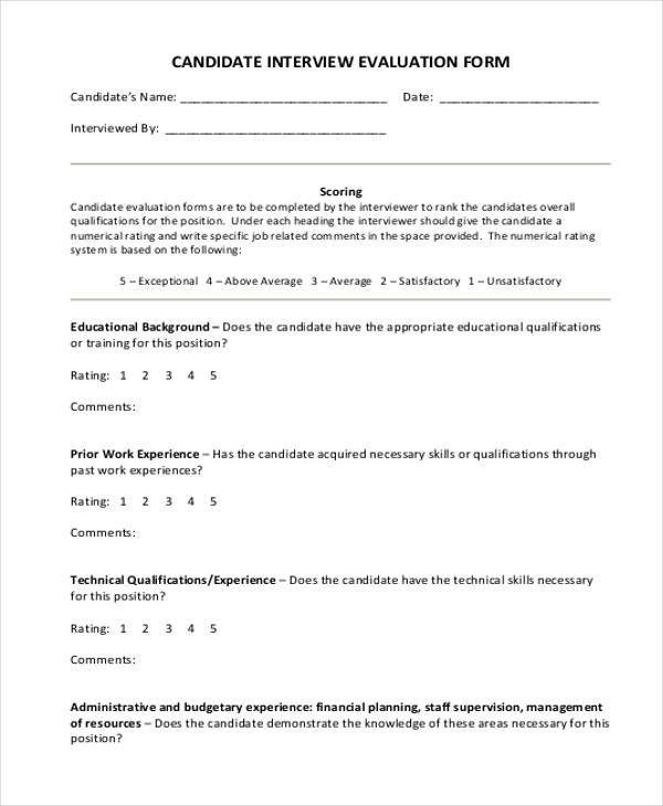 Interview Evaluation Form Samples  Free Sample Example