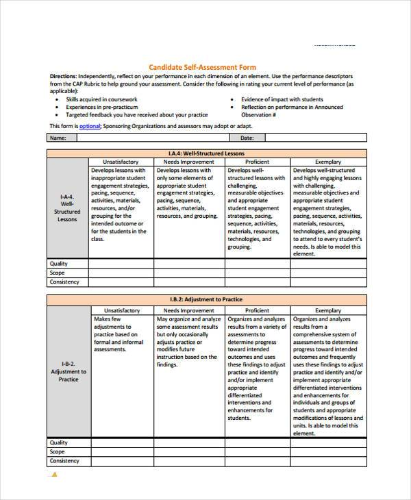 Self Assessment Form Samples - 8+ Free Documents In Word, Pdf