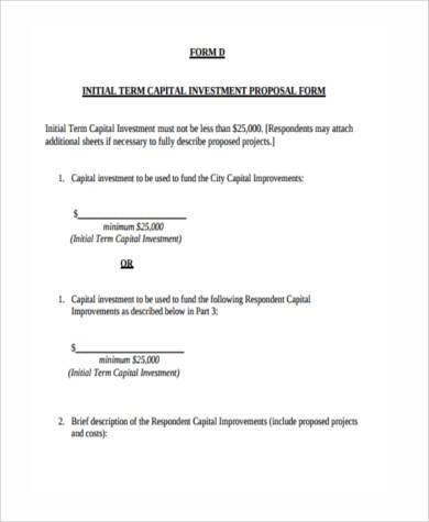 Sample investment proposal forms 7 free documents in word pdf capital investment proposal form altavistaventures Image collections