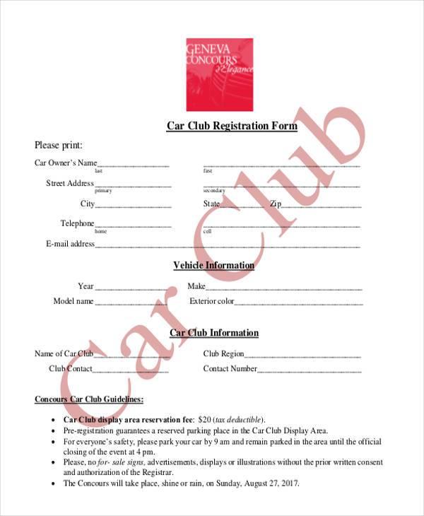 car club registration form template