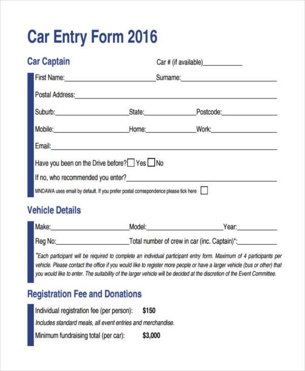 car entry registration form