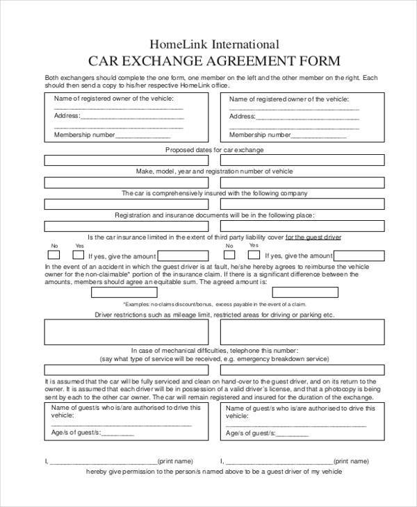 car exchange agreement form example