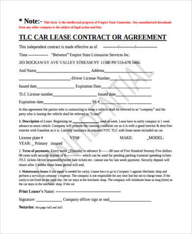 Car Lease Agreement Vehicle Lease Agreement Part Lease Agreement