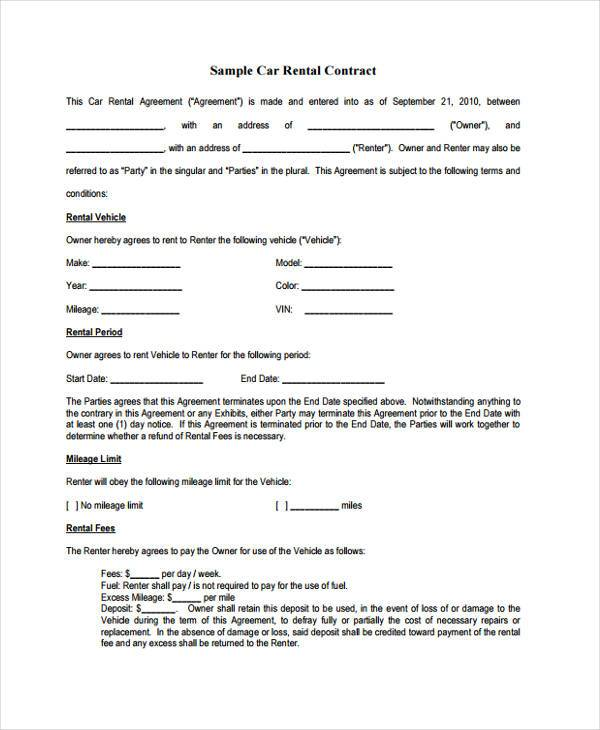 Free 8 Rent Contract Form Samples In Sample Example Format
