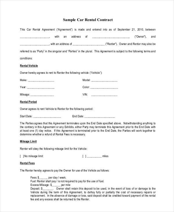 8 Rental Agreement Form Samples Free Sample Example Format – Car Rental Agreement Sample