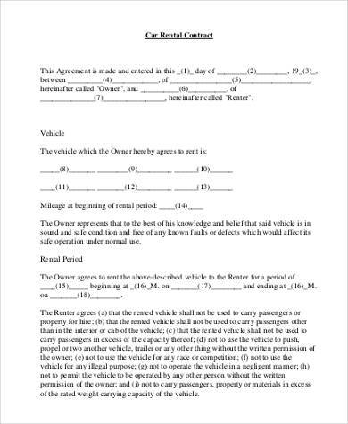 Sample Rental Agreement Forms   Free Documents In Word Pdf