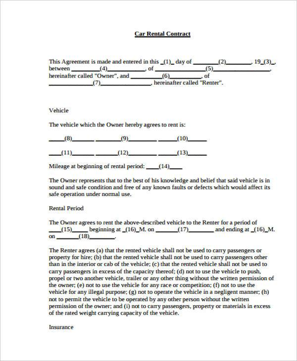 Car Rental Agreement Form  BesikEightyCo