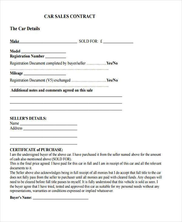8 Sale Contract Form Samples Free Sample Example Format Download – Car Sale Agreement Sample