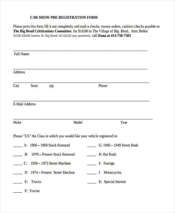 car show pre registration form1