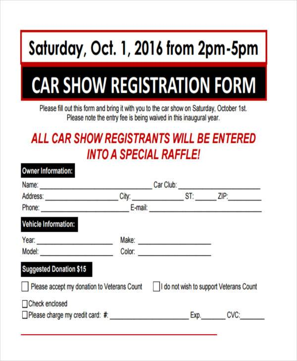 car show registration form example