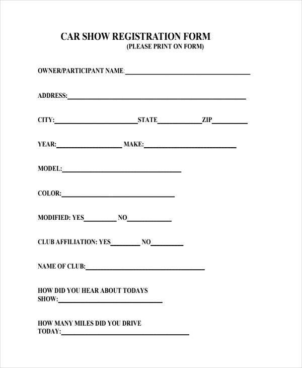 car show registration form in pdf