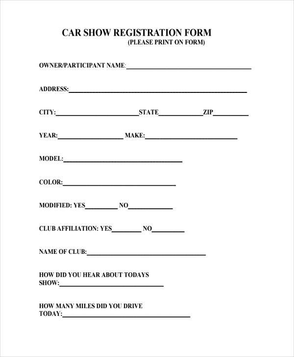Car Show Registration Form In PDF