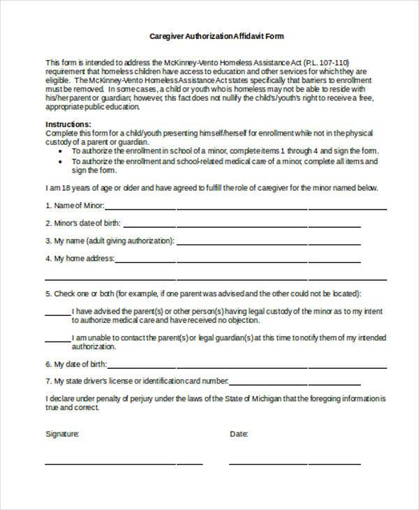 caregiver authorization affidavit form