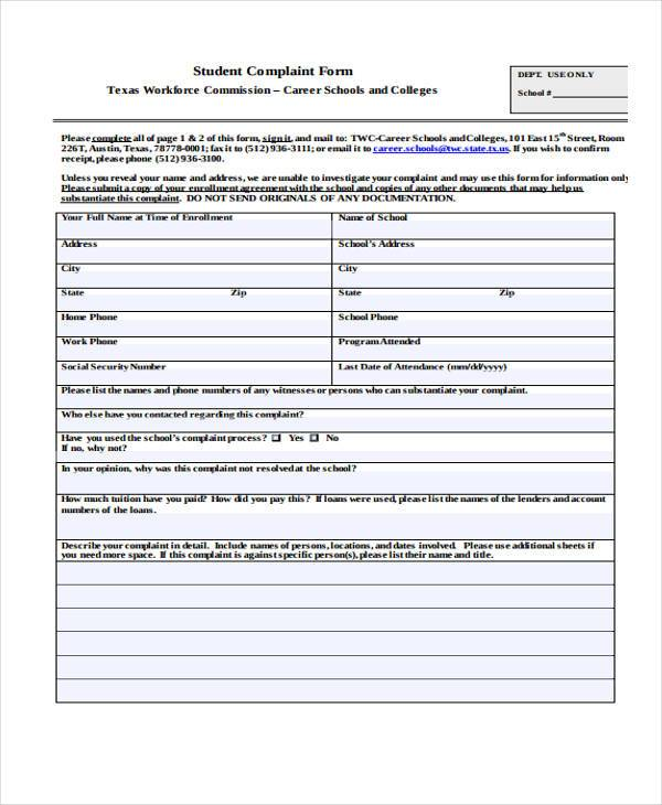 carrer school complaint form