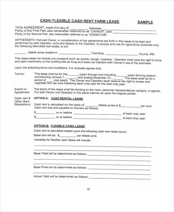 Sample Rent Lease Agreements 9 Free Documents In Word Pdf