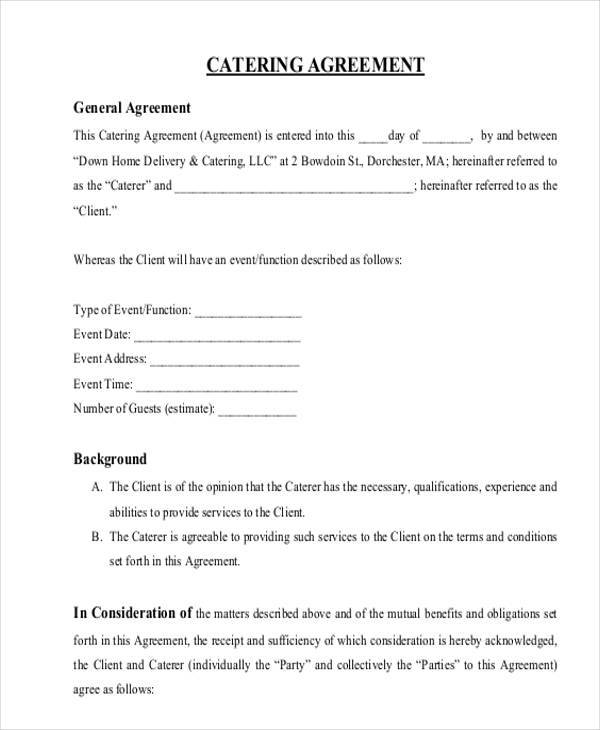 Catering Contract Form Samples  Free Sample Example Format