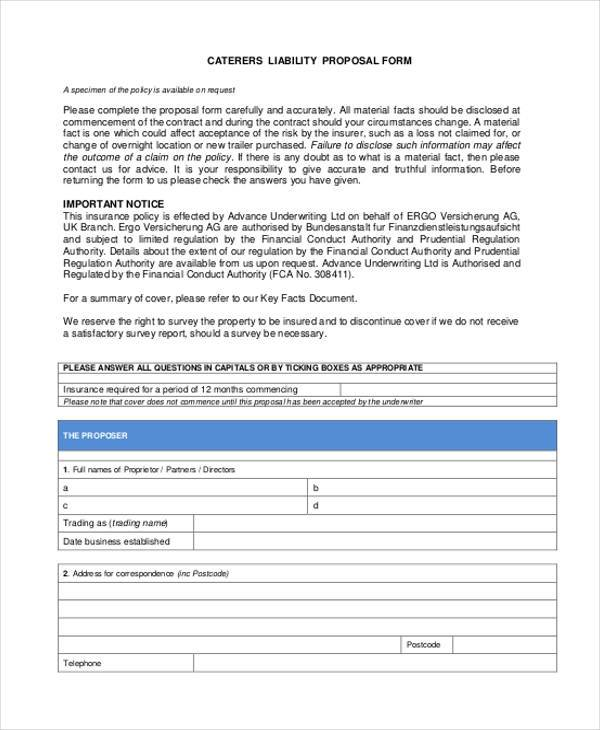 catering liability proposal form