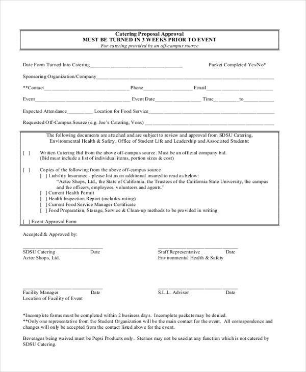 catering proposal approval form