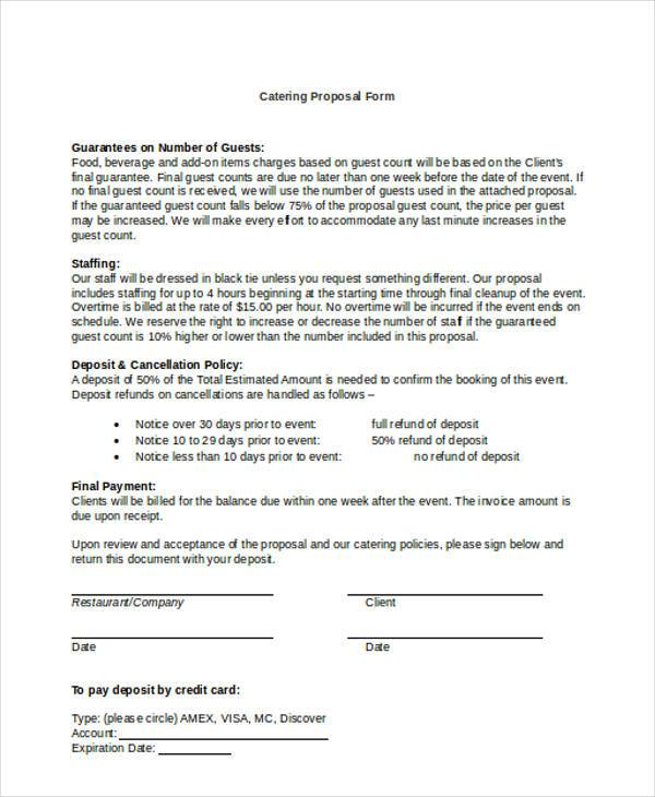 Catering Proposal Form Samples  Free Sample Example Format