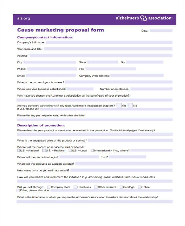 12 Marketing Proposal Form Samples Free Sample Example Format – Marketing Proposal Samples