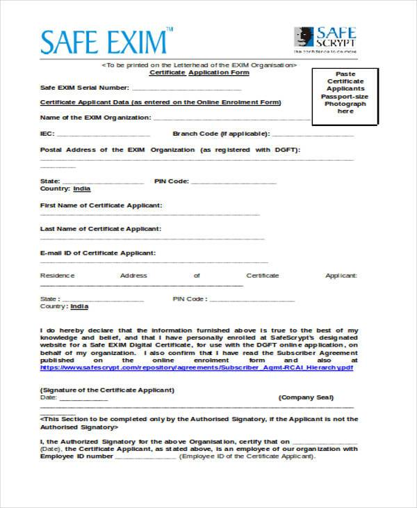 certificate application form in doc