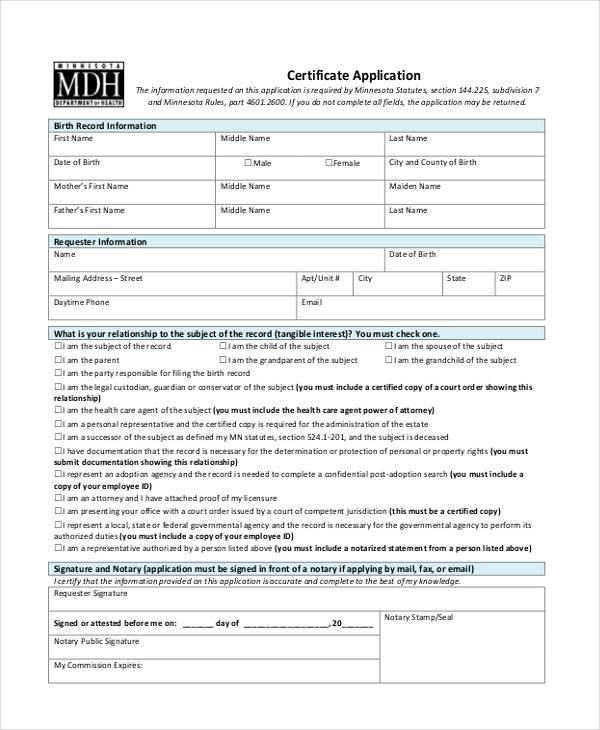 certificate application form in pdf